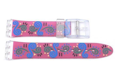 Swatch Replacement Plastic Pink with Swirl Design 17mm Watch Band