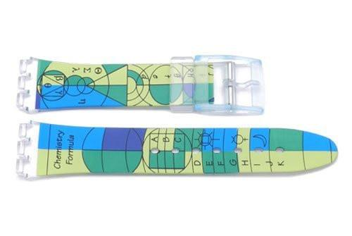 Swatch Replacement Plastic Chemistry Design 17mm Watch Strap