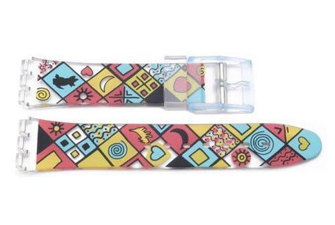 Swatch Replacement Plastic Hearts and Swirls Design 17mm Watch Strap