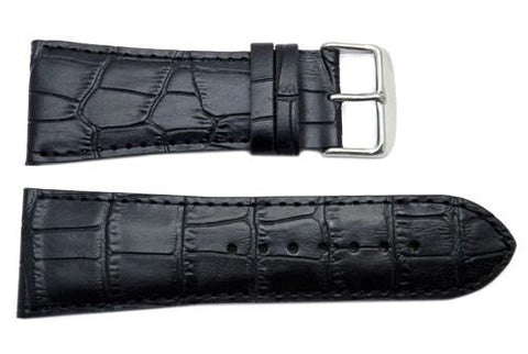North American Alligator Grain Textured Leather Watch Strap