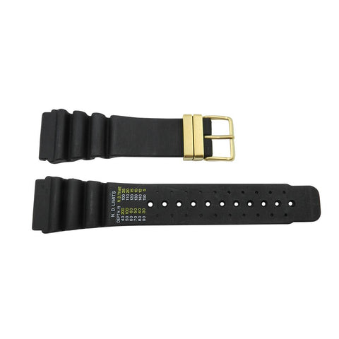 Genuine Citizen 24mm Black Rubber Divers Watch Strap