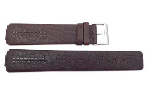 Genuine Skagen Dark Brown Leather 20mm Mens Watch Band - Installs with Pins