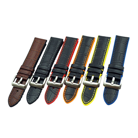 Alligator Grain Leather Watch Band with Silicone Back Lining