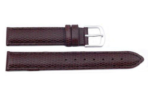 Hadley Roma Java Lizard Grain Brown Textured Leather Long Watch Strap