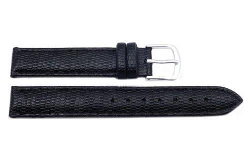 Hadley Roma Java Lizard Grain Black Textured Leather Long Watch Strap