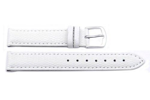 Hadley Roma Java Lizard Grain White Textured Leather Long Watch Strap