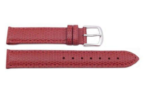 Hadley Roma Java Lizard Grain Red Textured Leather Long Watch Strap