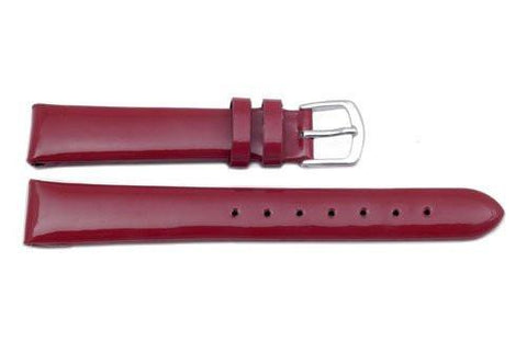 Hadley Roma Genuine Red Leather Glossy Watch Band