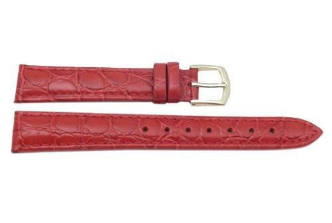 Hadley Roma Crocodile Grain Red Textured Leather Watch Band