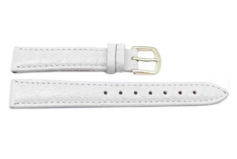 Hadley Roma Crocodile Grain White Textured Leather Watch Strap