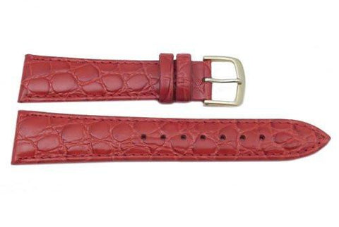Hadley Roma Light Padded Red Crocodile Grain Leather Watch Band