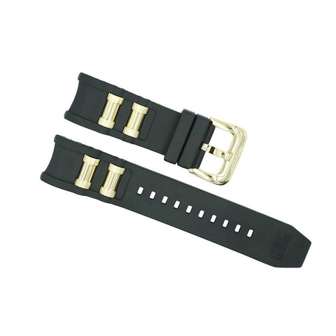invicta 26mm black and brushed gold russian diver strap