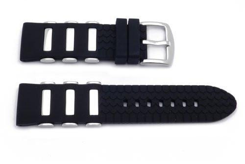 Genuine Silicone Sport Stainless Steel Inserts Tire Tread Style Watch Band