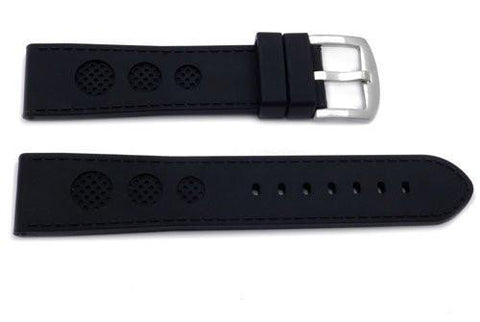 Genuine Silicone Thick Racing Style Sport Watch Band With 3 Holes
