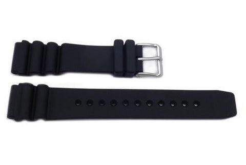 Genuine Rubber Black 20mm Plain Watch Strap by Citizen