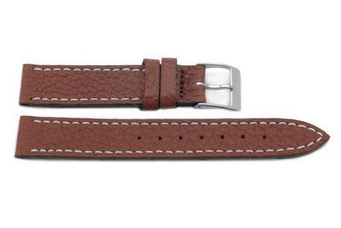 Swiss Army Genuine Leather Textured Brown Officer's 15mm Watch Band