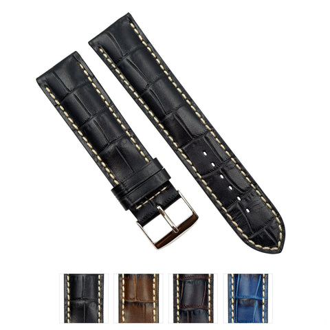 Genuine Leather Embossed Alligator Grain Heavy Padded Watch Band