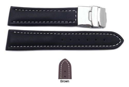 Smooth Genuine Leather Deployant Buckle Watch Strap