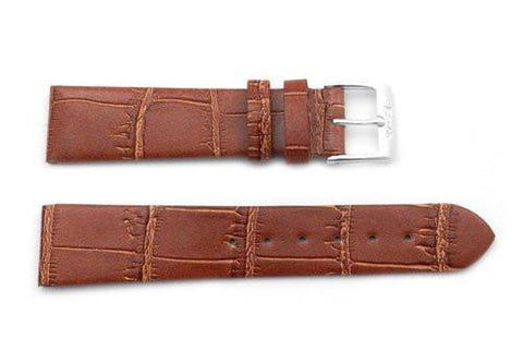 Flat Genuine Leather Alligator Grain Gloss Finish Short Watch Band - Assorted Colors