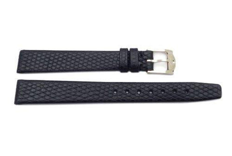 Genuine Movado 12mm Genuine Black Textured Leather Lizard Grain Watch Band