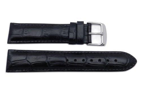 Genuine Leather Alligator Grain Black Semi-Gloss Watch Band