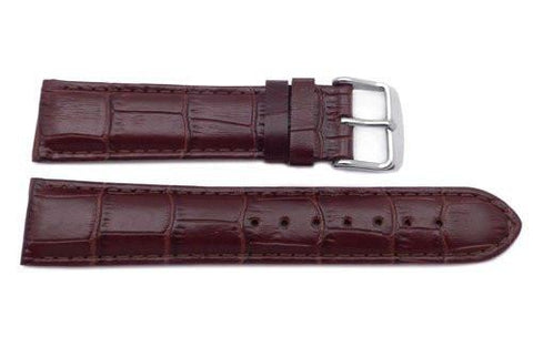 Genuine Leather Alligator Grain Brown Semi-Gloss Watch Strap