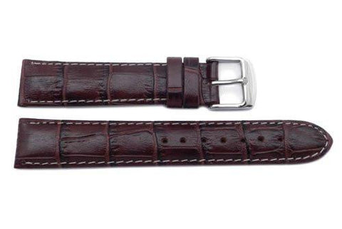 Genuine Leather Alligator Grain Brown with White Stitching Semi-Gloss Watch Strap