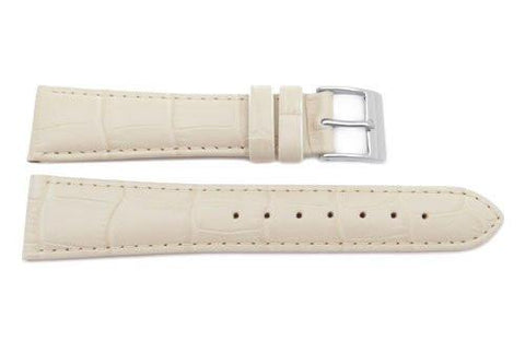 Genuine Leather Alligator Grain Textured Beige Matte Watch Band