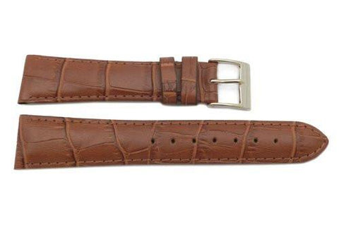 Genuine Leather Alligator Grain Textured Brown Matte Watch Strap