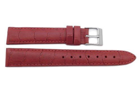 Genuine Leather Alligator Grain Textured Red Matte Watch Band