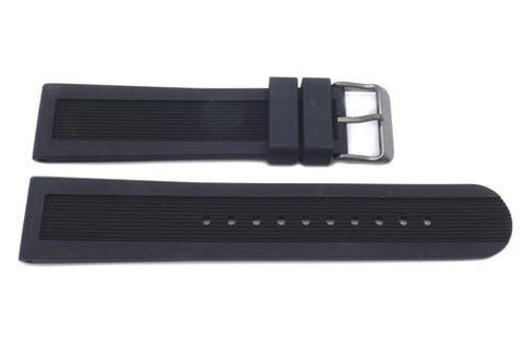 Swiss Army Genuine Rubber Black 22mm Dive Master 500 Watch Band With Gray Buckle