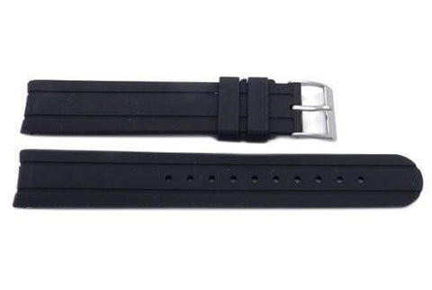 Swiss Army Genuine Rubber Black 16mm Officer's Self Winding Watch Strap
