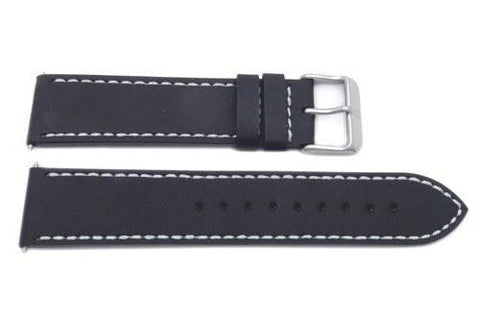 Swiss Army Genuine Leather Black 21mm Infantry Vintage Chrono Watch Strap
