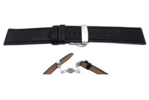Swiss Army Genuine Leather Black Chrono Series Butterfly Clasp 22mm Watch Strap