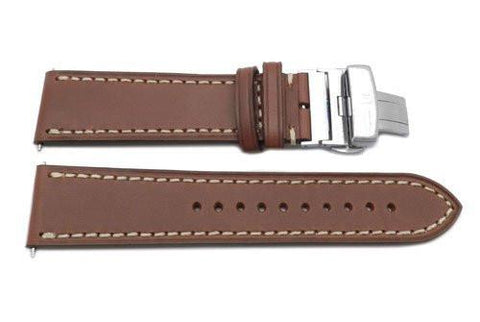 Swiss Army Genuine Leather Brown Infantry Vintage Series Butterfly Clasp 23mm Watch Band
