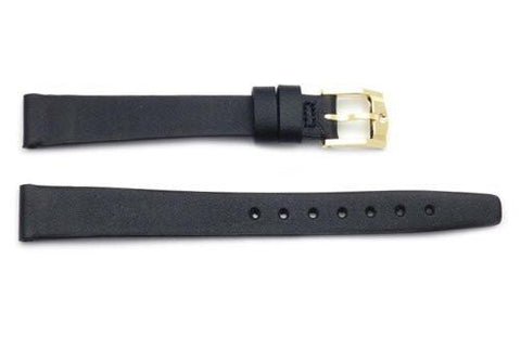 Genuine Movado 12mm Black Genuine Leather Smooth Flat Watch Strap