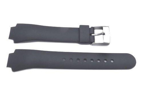 Genuine Swiss Army Black Smooth Rubber 13mm Peak Watch Strap