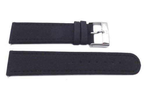 Genuine Swiss Army Black Smooth Nylon and Leather 22mm Infantry Watch Band