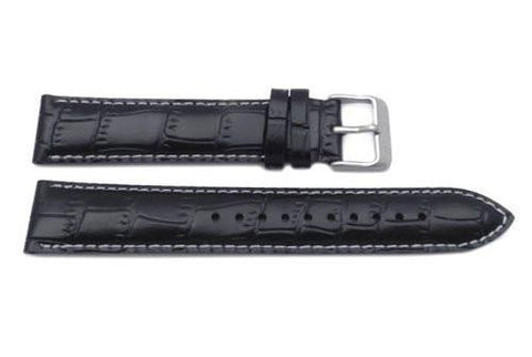 Seiko Black Genuine Textured Leather 19mm Watch Band