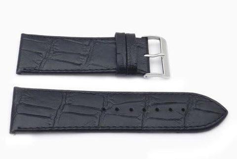 Genuine Leather Alligator Grain Embossed Flat Padded Watch Strap