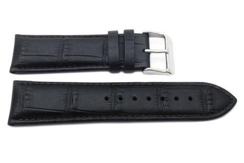 Genuine Leather Alligator Grain Texture Flat Padded Wide 24mm Watch Strap