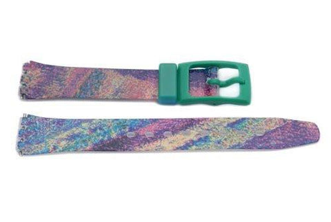 Swatch Replacement Plastic Multicolored Stripes Design Watch Band