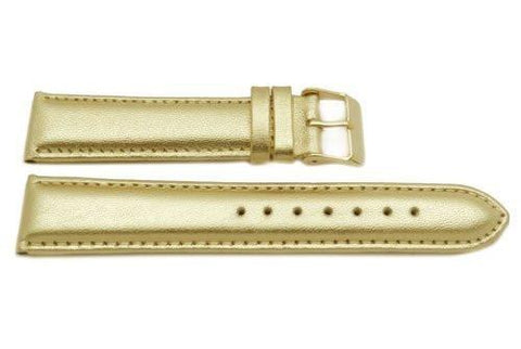 Genuine Leather Gold Metallic Watch Band