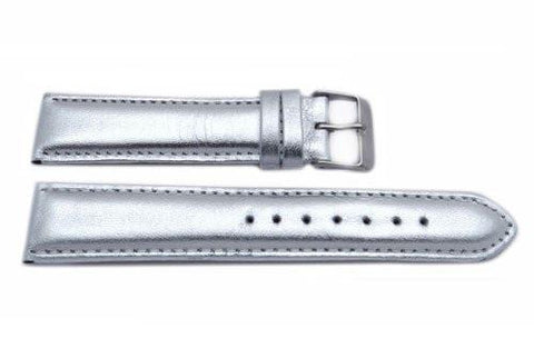 Genuine Leather Silver Metallic Watch Strap