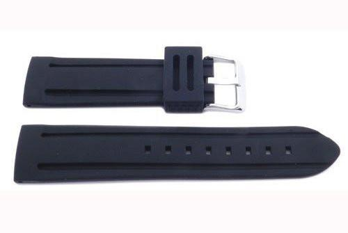 Genuine Silicone Heavy Duty 22mm B-RB104 Black Watch Band