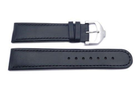 Genuine Swiss Army Black Smooth Leather Cavalier Watch Strap