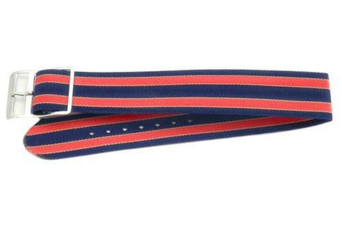 Blue and Red Striped Nylon B-5203 Watch Band