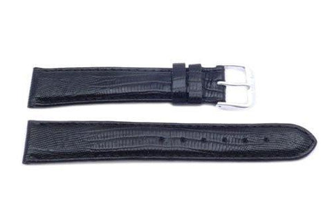 Genuine Leather Black Lizard Grain Long Watch Band