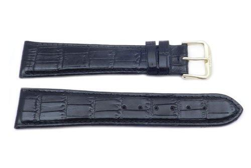 Black Alligator Grain Genuine Leather Long Watch Band