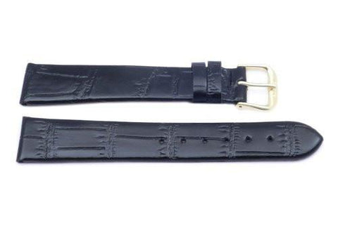 Black Leather Alligator Grain Long Watch Strap